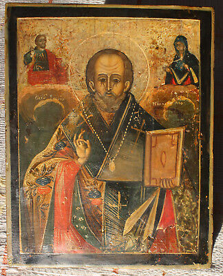 Antique Russian icon St. Nicholas on cypress wood, 19th century