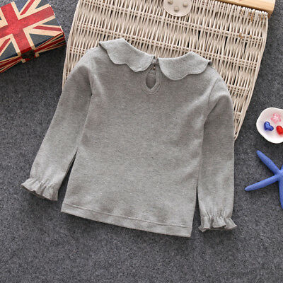 T-shirt Tops Girl Toddlers Long Sleeve White casual Doll Collar Party hot sale