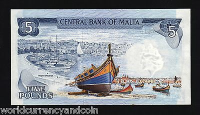 Malta 5 Pounds P32 A 1967 Euro Unc Bird Statue Sun Boat Money Bill Bank Note