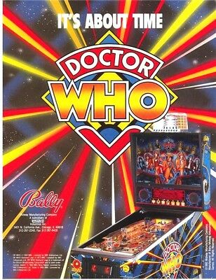 Bally DOCTOR WHO Original 1992 NOS Pinball Machine Flyer Daleks Tardis Sci-Fi