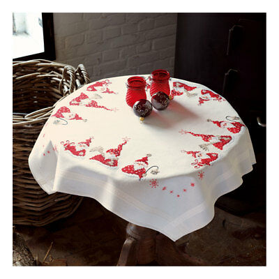 Embroidery Kit Tablecloth Christmas Gnomes Stitched on Cotton Fabric  80x80cm