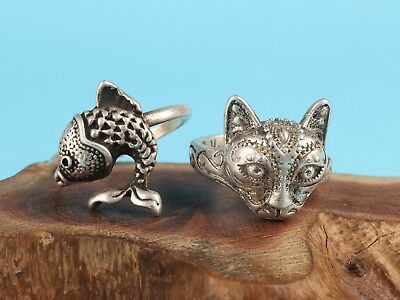 2 Old Chinese Hand-Carved Leopard Fish Statue Animal Ring Tibetan Silver