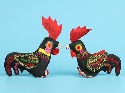 2 Chinese Old Folk Art Pure Handmade Embroidery Festive Rooster Statue Doll Gift