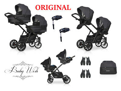RIKO TEAM TWIN PRAM 2in1, 3in1 CARRYCOT+PUSHCHAIR+CAR SEAT+ISOFIX FREE EXTRAS!