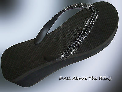 da4ccf6e6 Havaianas flip flops or Cariris wedge using Black Swarovski Crystals  Stunning
