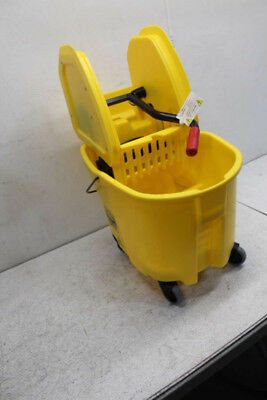 Lot of 12 Rubbemaid WaveBrake 35 Qt Yellow Mop Bucket w/Wringer FG757788