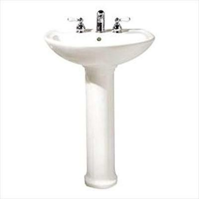 Cadet Pedestal Combo Bathroom Sink with 8 in. Faucet Centers in White