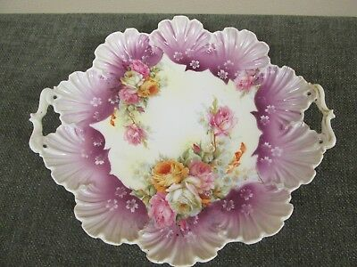 Unmarked S&T RS Germany Prussia Roses Scalloped Borders Plate w/ Handles