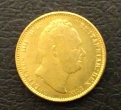Nice William Iv 1832 Bare Head 22 Ct Gold Plated £1 Sovereign Very Fine Restrike