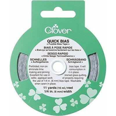 "Clover Quick Bias Fusible Bias Tape 1/4""x11yd-silver"