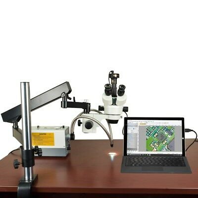 Articulated Arm 2.1X-270X Zoom Microscope+Fiber Light+Barlow Lenses+2MP Camera