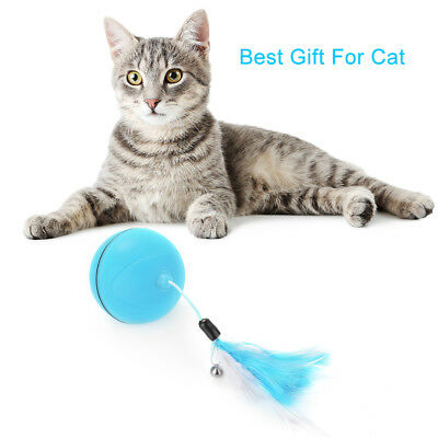 LED Cat Ball Toy USB Rechargeable With Detachable Color Ribbon Feather PS341