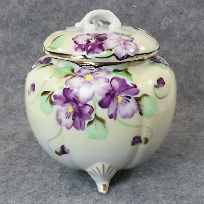 Antique Tohina E-OH Nippon China Hand Painted Violets Footed Jar w/ Lid
