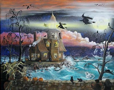 Byrum Folk Art Halloween Haunted Lighthouse PRINT Witches Ghosts Moon