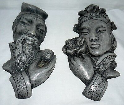 Chinese Male & Female Very Heavy Wall Plaques Stone Material Mix Unique