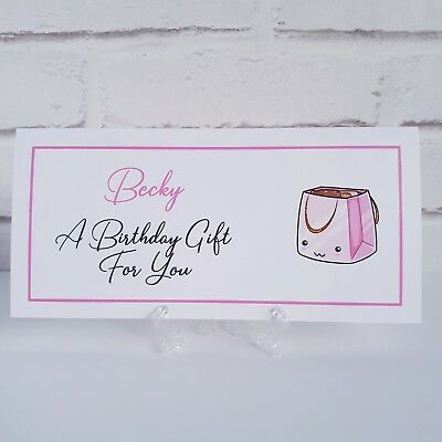 BIRTHDAY MONEY, GIFT CARD, VOUCHER WALLET Personalise with a Name &/or Sentiment