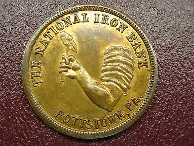 The National Iron Bank - Pottstown, Pa. - Bronze Bank Token For Safe Dep. Box