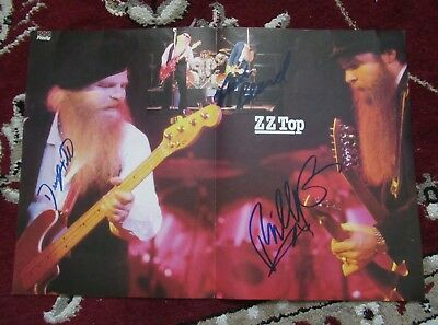 ZZ Top BEAUTIFULLY SIGNED COLOR PERFORMANCE MAGAZINE CENTER SPREAD PHOTO !