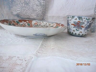 "2 Antique Vintage Japanese Imari Bowls Crane 8"" & 3""  Blue Rings Plate"