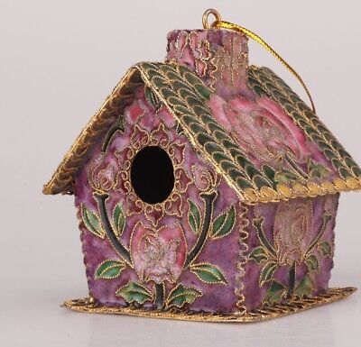 Unique Cloisonne Statue Pendant Old Handmade House Bird Cage Model Christma Gift
