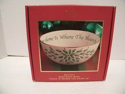 """LENOX Xmas Holiday Sentiment Bowl """"Home Is Where The Heart Is"""" Holly Design NIB"""