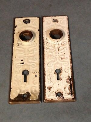 2 Antique Vintage Primitive Door Knob Lock Key Hole Plate Repurpose Parts