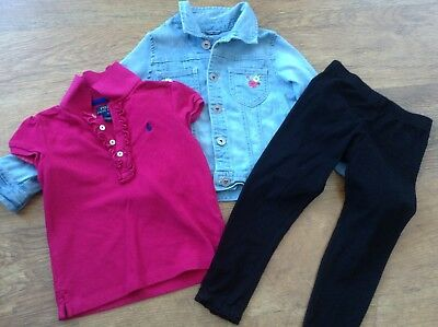 Mothercare Next Ralph Lauren Girls Small Bundle / Outfit 4-5Yrs Top Leggings Jkt