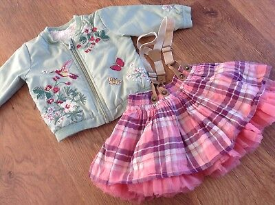 100% Next Baby Girls Small Bundle / Outfit 6-9Mths Jacket Skirt