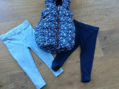 Next River Island Girls Small Bundle / Outfit 18-24Mths Leggings Gilet