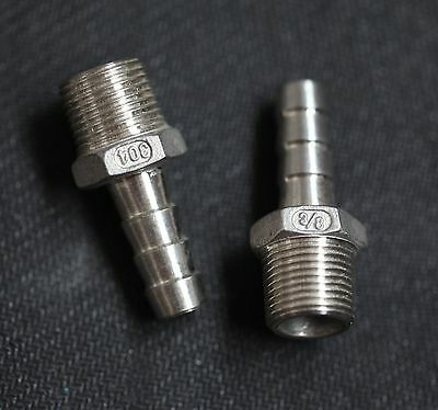 """Hb037037 Stainless Steel Hose Barb 3/8"""" Npt Pipe - 3/8"""" Hose"""