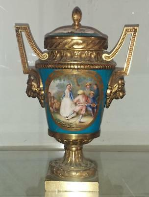 18th C Sevres Gilt Bronze Mounted Bleu Cleleste Porcelain Hand Painted Vase