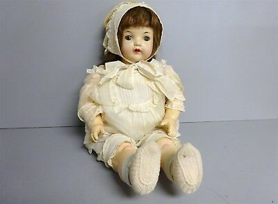 "Antique Effanbee 1930s 24"" Large Baby Doll w/Tin Sleep Eyes Soft Body Outfit"
