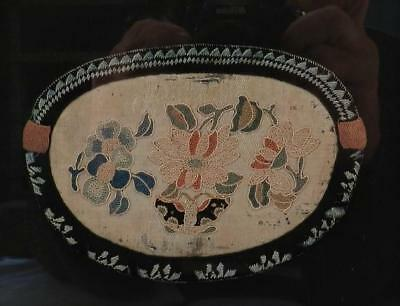 Antique Chinese Qing Dynasty Purse~Pocket Embroidered Silk~Matted & Framed