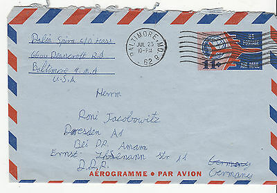 UNITED STATES 1962 11c Aerogramme to GERMANY DDR Used