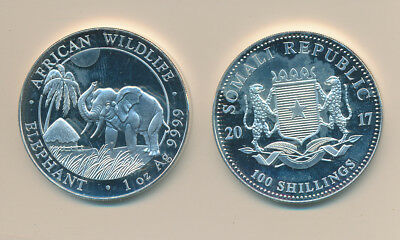 ELEPHANT - WILDLIFE PROOFLIKE 2017 COIN FROM SOMALI - 1 oz. pure buy!