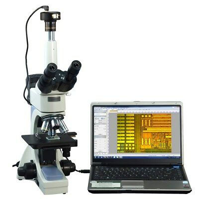 OMAX 40-2500X Infinity Trinocular Metallurgical Microscope+1.3MP Camera
