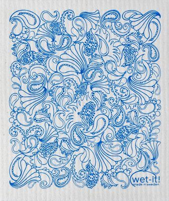 Wet-It  Blue Paisley Print Swedish Kitchen Bathroom  Dishcloths Towel Cloth
