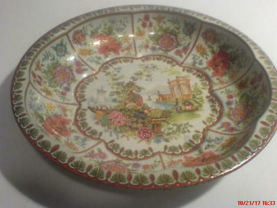 Vintage Daher tin bowl, 1971, colorful scenes and an 8-panel border of flowers,