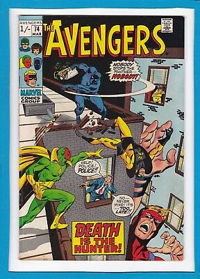 """Avengers #74_March 1970_Vf Minus_Black Panther_Vision_""""death Is The Hunter""""_Uk!"""