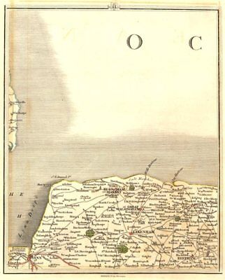 NORTH NORFOLK COAST. Burnham Market Holt King's Lynn Fakenham. CARY 1794 map