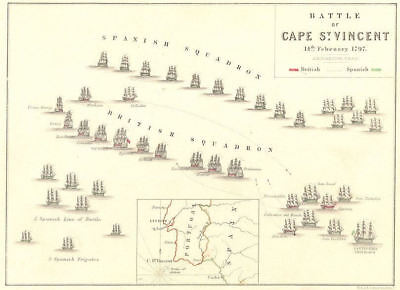 BATTLE OF CAPE ST VINCENT. 14th February 1797. Portugal 1848 old antique map