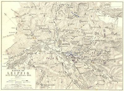 BATTLE OF LEIPZIG. 16-19th October 1813. Sheet 1. Germany 1848 old antique map