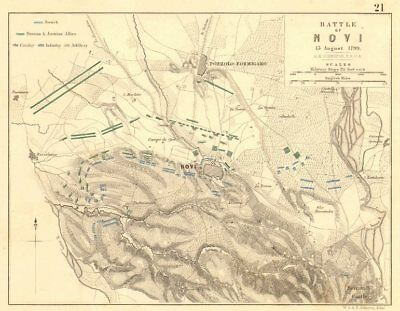 BATTLE OF NOVI. 15 August 1799. Pozzolo Formigaro. Italy 1848 old antique map