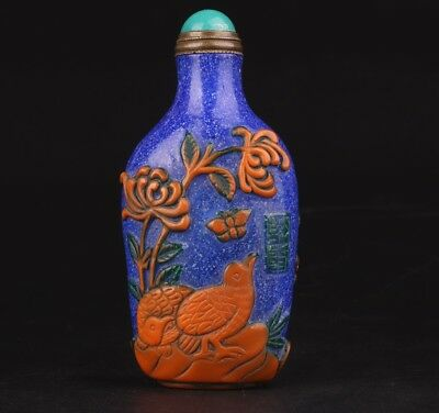Precious Chinese Coloured Glaze Snuff Bottle Hand-Carved Bird Mascot Gifts