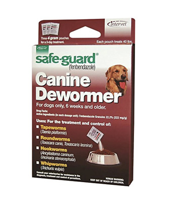 NEW! MERCK SAFE-GUARD CANINE DEWORMER, TREATS 40lb DOGS