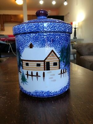 Vintage Yonkers Cookie Jar Winter Scene With Trees Decorative Christmas Ceramic