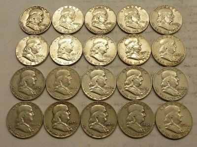Roll of (20) Franklin Half Dollars, Mixed Dates, Circulated, 90% Silver Coins #1