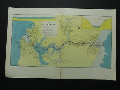 "1909 PANAMA CANAL Map Hammond 20.5"" x 13.5"""
