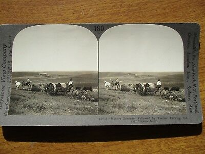 EARLY CASE MACHINERY in Nebraska during farming Season,PHOTOGRAPH STEREOVEW!