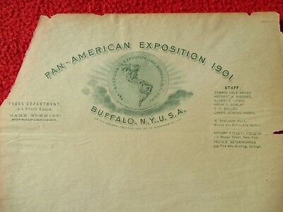 """1901 AWESOME Pan-American Exposition """"On the Niagara Frontier"""",letterhead!"""